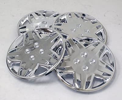 TuningPros WSC-509C14 Chrome Hubcaps Wheel Skin Cover 14-Inches Silver Set of 4