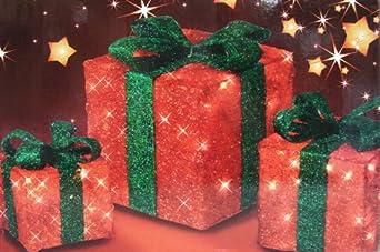 3er set beleuchtete 3 geschenkboxen weihnachten weihnachtsdeko geschenk boxen. Black Bedroom Furniture Sets. Home Design Ideas
