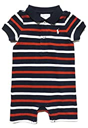 Ralph Lauren Infant One-piece, Stripes, Pique Cotton (9 Months, Navy / Red / White / White Pony)