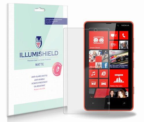 Illumishield - Nokia Lumia 820 Anti-Glare (Matte) Screen Protector Hd Clear Film / Anti-Bubble & Anti-Fingerprint / Premium Japanese High Definition Invisible Crystal Shield - Free Lifetime Warranty - [3-Pack] Retail Packaging