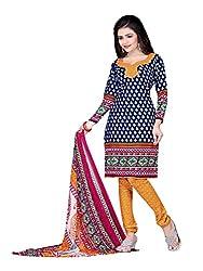 Jinal Fashion women's crepe dress material (Blue_color)