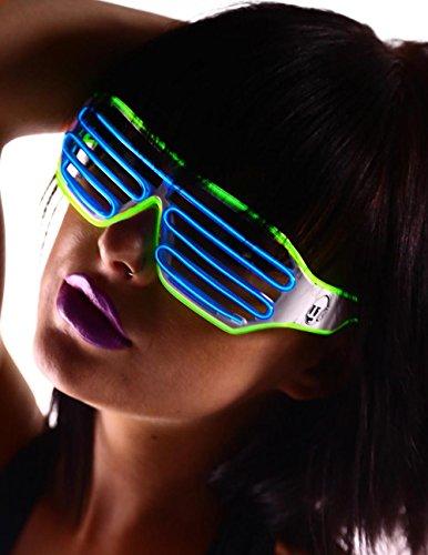Emazing Lights 2-Color Light Up EL Wire Shutter Rave Glasses (Green/Blue)