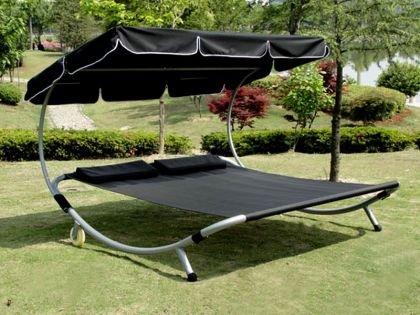 Loywe Sonnenliege Doppelliege mit Dach für 2-Personen LW22Schwarz-New günstig online kaufen