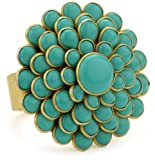 "Zariin ""The Daisy Flower"" Turquoise Adjustable Ring"