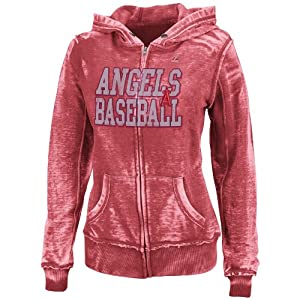 MLB Los Angeles Angels Washed Athletic Red Heather Long Sleeve Full Zip Hood Bunout... by Majestic