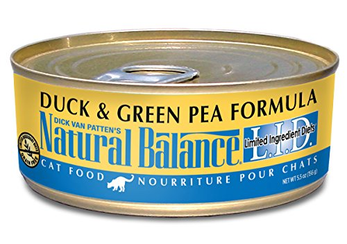 Natural Balance L.I.D. Limited Ingredient Diets Duck & Green Pea Formula Wet Cat Food, 5.5-Ounce Can (Pack of 24) (Natural Balance Green Pea Duck compare prices)