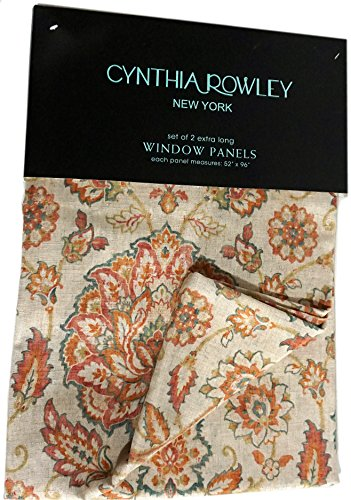 Cynthia Rowley Alina Jacobean Flowers Paisley Scrolls Window Panels Set of  2 Floral Scrolls Linen Window Curtains. Rowley Alina Jacobean Flowers Paisley Scrolls Window Panels Set of