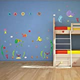 Wall Decals Seaworld - Letters for Personalized Name - Easy Peel & Stick Wall Art Decor - Baby/ Kids Nursery Room Decorative Stickers