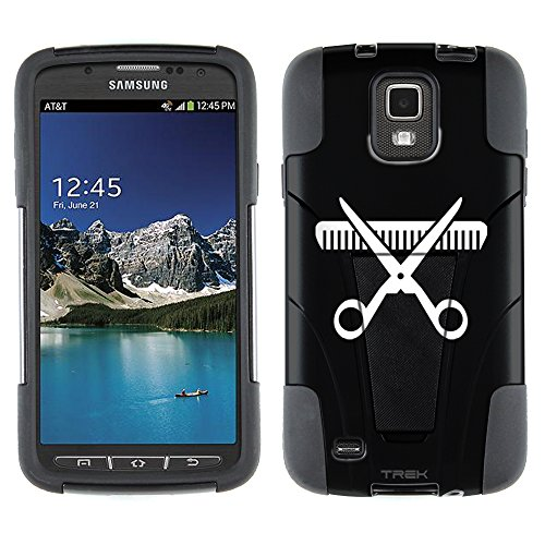 Samsung Galaxy S4 Active Hybrid Case Silhouette Hair Stylist Scissor and Comb on Black 2 Piece Style Silicone Case Cover with Stand for Samsung Galaxy S4 Active
