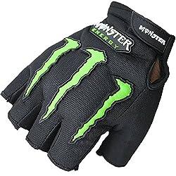Monster Half Finger Motorcycle Riding Gloves (Black, L)