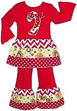 AnnLoren Girls Christmas Candy Cane Chevron Dress amp Pants Clothing Set