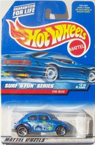 Mattel Hot Wheels 1999 1:64 Scale Surf N Fun Series Blue VW Bug Die Cast Car 2/4