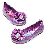 Disney Store Frozen Anna Elsa Purple Glitter Ballet Flat Shoes Size 10