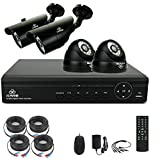 [ProHD 960P] CCTV System, KARE 4CH 1080N DVR Recorder with 4x Super HD 1.3MP Camera (P2P, 1280x960 Dome and Bullet Cam, Rapid USB Storage Backup, Vandal Water-Proof, Night Vision, Mobile App: Xmeye, No HDD)