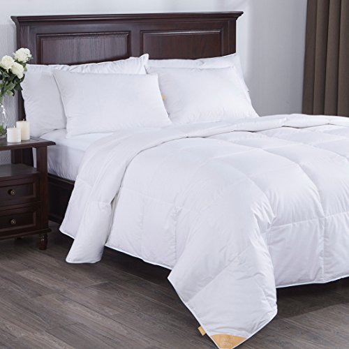 Puredown Lightweight White Goose Down Comforter Duvet Insert 300 Thread Count 100% Cotton Fabric, 600 Fill Power, Full/Queen Size, White (Duvet Insert Lightweight compare prices)