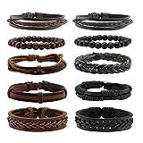 Milakoo 10 Pcs Braided Leather Bracelet for Men Women Wooden Beaded Bracelets Wrap Adjustable