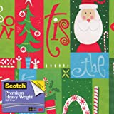 Scotch  Gift Wrap, Jolly Season Pattern, 25-Square Feet, 30-Inch x 10-Feet (AM-WPJS-12)