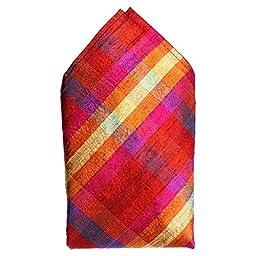 ROYAL SILK® - Multicolor Fire Red Pink Purple Plaid Silk Pocket Square-16\