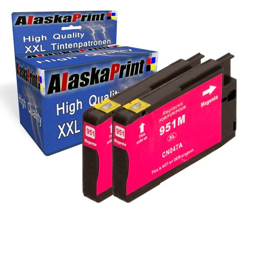 2x Druckerpatrone Ersatz für Hp 1x 951 XL Original alaskaprint Tinte Magenta, je 1.500 Seiten Leistung Ersatz für Hp CN047AE ( 951 xl , HP 951 XL ) , Rot