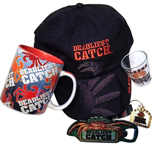 Deadliest Catch Crab Logo Coffee Mug and Black Hat Bundle
