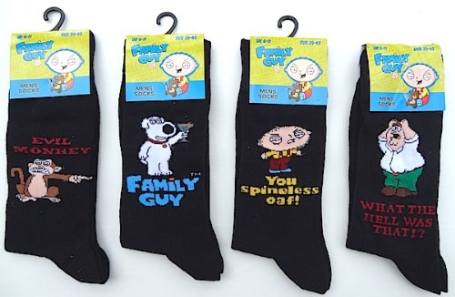 12 Pack Mens FAMILY GUY Black Cartoon Novelty Character SOCKS (Size 6-11)