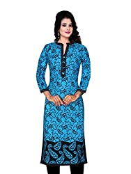 Spangel Fashion Blue Colour Choice Women's Cotton Stitched Kurti (Yellow, X-Large) (X-Large)