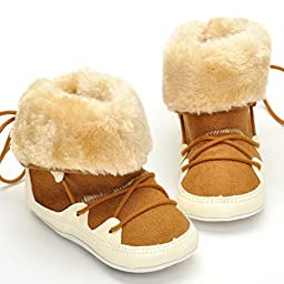 LIVEBOX Baby Premium Soft Sole Bow Anti-Slip Mid Calf Warm Winter Infant Prewalker Toddler Snow Boots (M: 6~12 months, Tan)