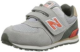 New Balance KG574I Outside Pack Classic Running Shoe (Infant/Toddler), Grey/Orange, 3 W US Infant