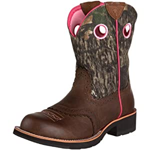 Ariat Women's Fatbaby Cowgirl Equestrian Boot,Distressed Brown/Camo,10 M US