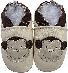Carozoo Baby Boys\' Monkey cream Soft Sole Leather Shoes 24-36m