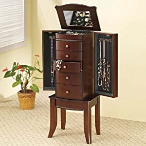 Coaster 900142 jewelry armoire cherry for Armoires lingeres