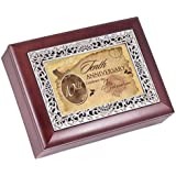 Tenth Anniversary Rosewood Finish With Silver Inlay Jewelry Music Box - Plays Tune Wonderful World