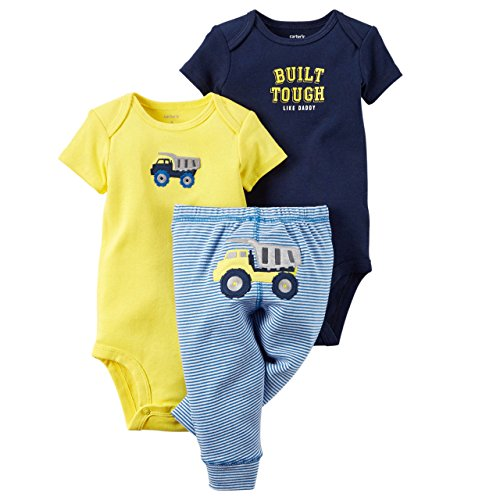 Carter's Baby Boys' 3-Piece Bodysuit & Pants Set (18 Months, Yellow)
