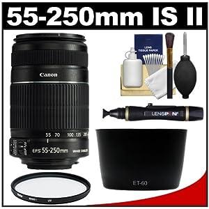 Canon EF-S 55-250mm f/4.0-5.6 IS Telephoto Zoom Lens + UV Filter & Lens Hood + Cleaning Kit for Digital Rebel XS, XSi, XT, XTi, XSi, T1i, T2i, EOS 40D, 50D, 60D & 7D Digital SLR Camera