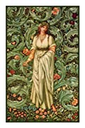 Garden Maiden in greens and cream by Arts and Crafts Movement Founder William Morris Counted Cross Stitch Chart