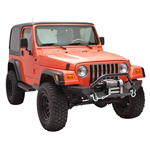 X-restyling Textured Black Front Bumper and Rear Bumper with Hitch Receiver for Jeep Wrangler TJ YJ