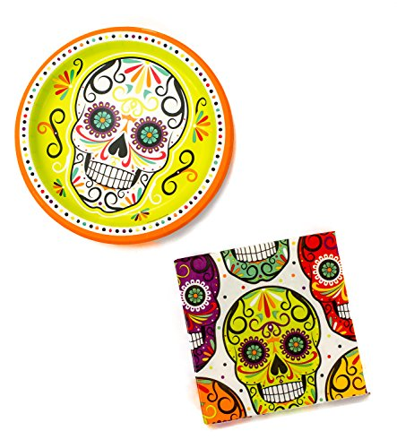 [Day of the Dead Sugar Skull Party Supplies Bundle - 2 Items: 9