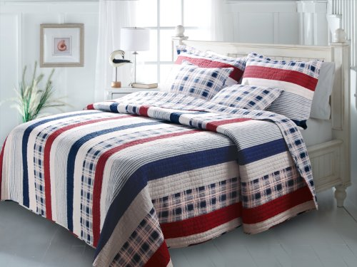 Greenland Home Fashions Nautical Stripes Quilt Set, King front-1000024