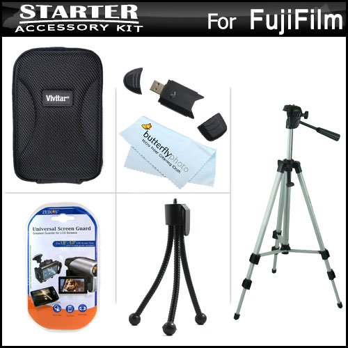 Starter Accessories Kit For Fuji Fujifilm Finepix T550, T500 Digital Camera Includes Deluxe Carrying Case + 50 Tripod With Case + Usb 2.0 Card Reader + Lcd Screen Protectors + Mini Tabletop Tripod + Microfiber Cleaning Cloth
