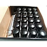 AccuWheel LNS-14150B6 Small Diameter Acorn Spline Drive Black Lug Nuts with Key (14mm x 1.5 Thread Size) - Pack of 24 Lugnuts