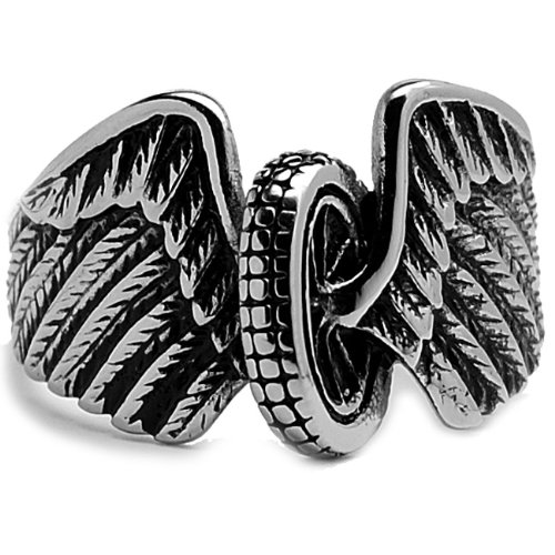 Stainless Steel Casted Biker Ring With Wings Size 10