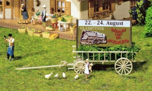 WAGON WITH ADVERTISING BOARD - FALLER HO SCALE MODEL TRAIN ACCESSORIES 130527