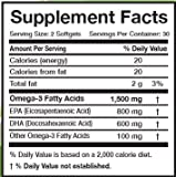 Omega 3 Fish Oil - Triple Strength - 1,500 Mg Omega 3 Fatty Acids - 600 Mg DHA 800 Mg EPA - No Fishy Aftertaste - Pharmaceutical Grade Fish Oil - 60 Softgels