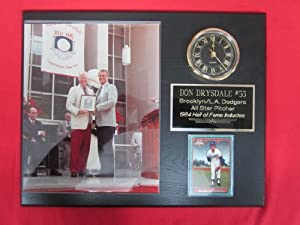 Don Drysdale Los Angeles Dodgers Collectors Clock Plaque w 8x10 Photo and Card by J & C Baseball Clubhouse