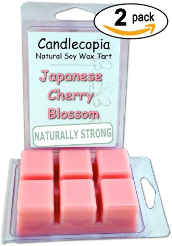 Candlecopia Japanese Cherry Blossom 6.4 Oz Scented Wax Melts - Fragrant Blossoms Of Japanese Cherry Tree Along With A Hint Of Vanilla, A Touch Of Lily And A Bit Of Rose - 2-Pack Of Naturally Strong Scented Soy Wax Cubes Throw 50+ Hours Of Fragrance When M