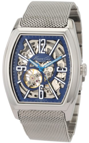 Kenneth Cole Men's Automatic Watch with Blue Dial Analogue Display and Silver Stainless Steel Bracelet KC3985