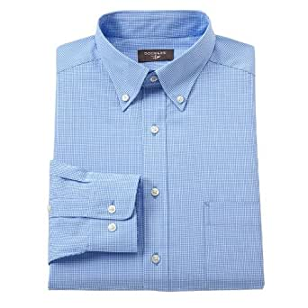 Dockers fitted checked no iron button down collar dress for Mens no iron dress shirts