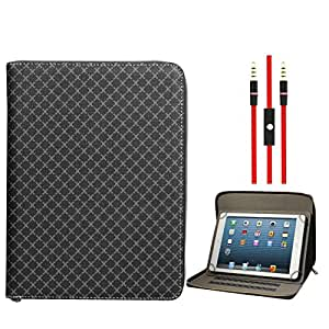 DMG Zippered Portfolio Cover Stand Case with Accessory Pockets for Mitashi Sky Tab 2 (Textured Black) + 3.5mm Flat AUX Cable with Mic