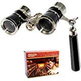 HQRP 3 x 25 Opera Glass Binocular w/ Built-In Extendable Handle Elegant Black Style with Silver Trim in HQRP Gift Box