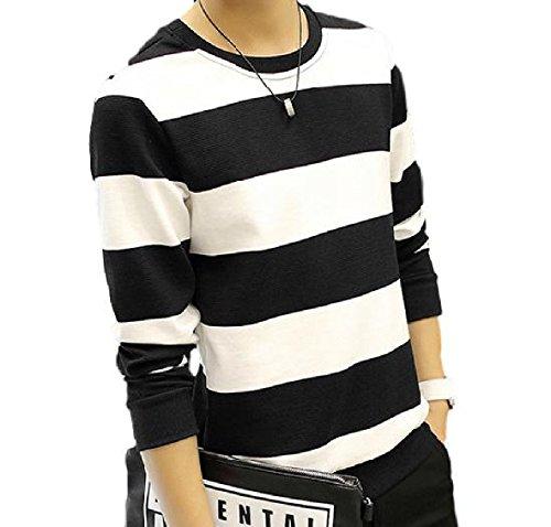 hipa hipa 長袖 Tシャツ ロンT ボーダー カットソー シャツ 白黒 モノトーン 紺 ネイビー しましま (ブラック / XLサイズ)